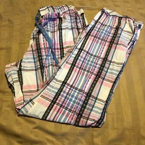 Cotton pajama pants plaid medium pink M 8 10 plaid